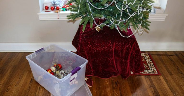 a half-empty plastic storage tub has holiday decor and ornaments in it next to a Christmas tree