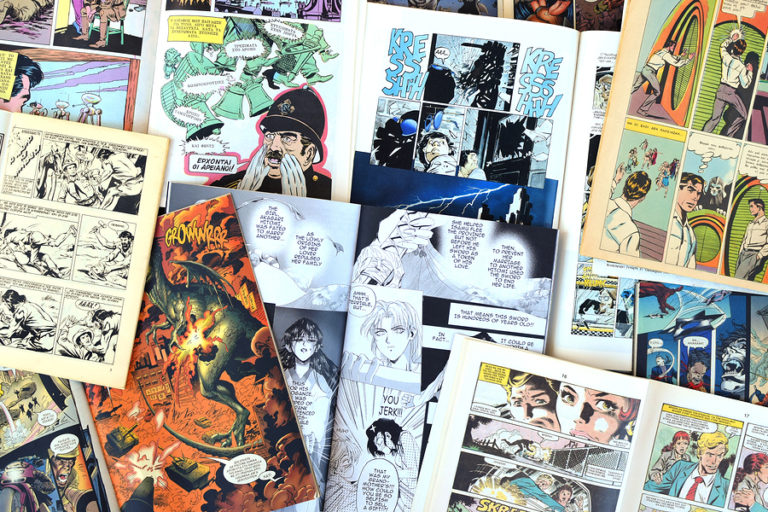 An assortment of comic book pages.