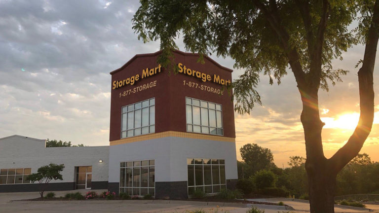 StorageMart in Omaha at sunset