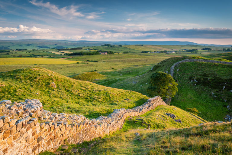 The rolling hills of the Pennine Way hike in England