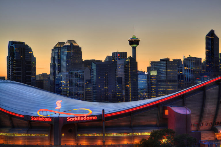 The summer skyline of the Canadian city of Calgary