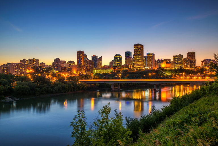 A summertime view of the skyline of downtown Edmonton.