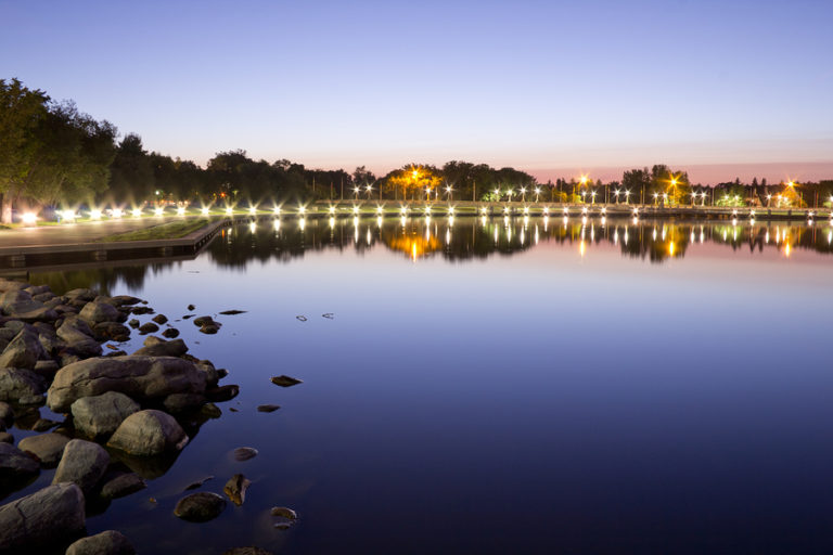 Wascana Lake on a summer night.
