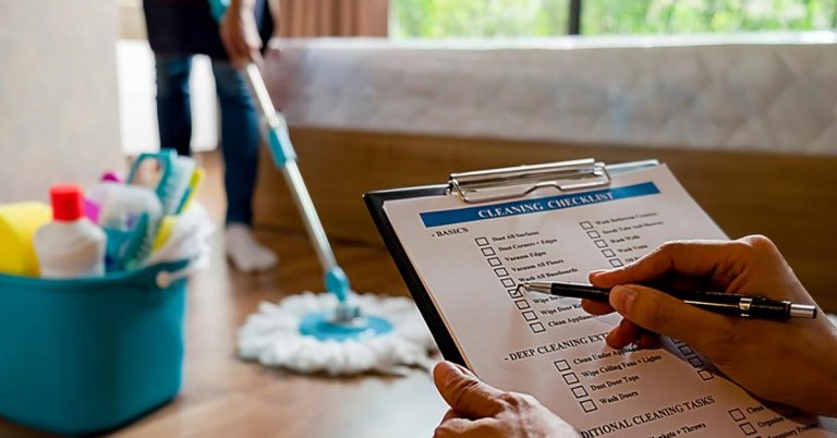 A clipboard holds a cleaning checklist