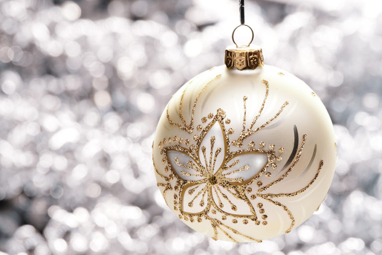 A close up of a holiday ornament.