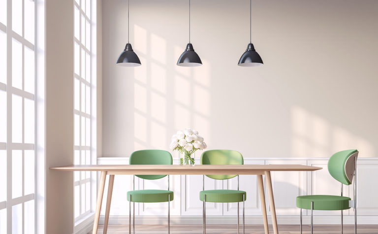 A modern kitchen table and chairs.
