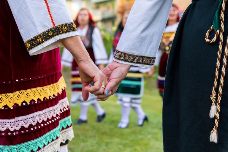 A Greek folk dancing group