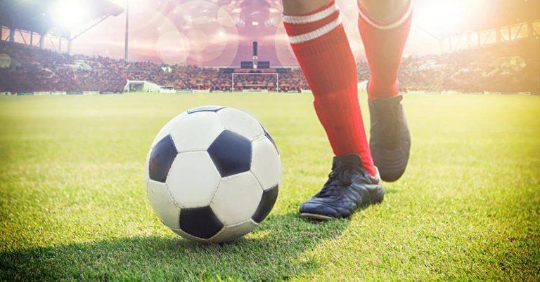A feet-only shot of a soccer player.