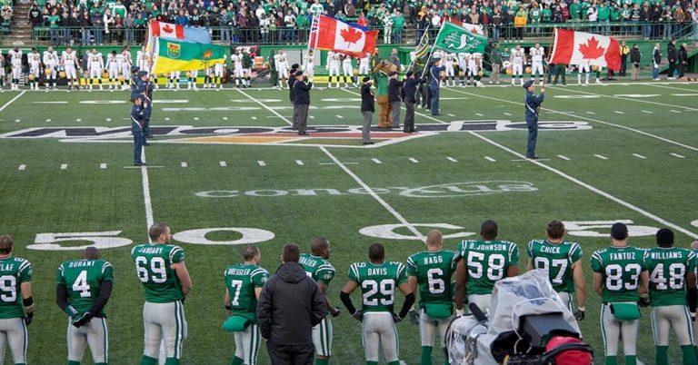 A wide-angle shot of an Edmonton eskimos game.