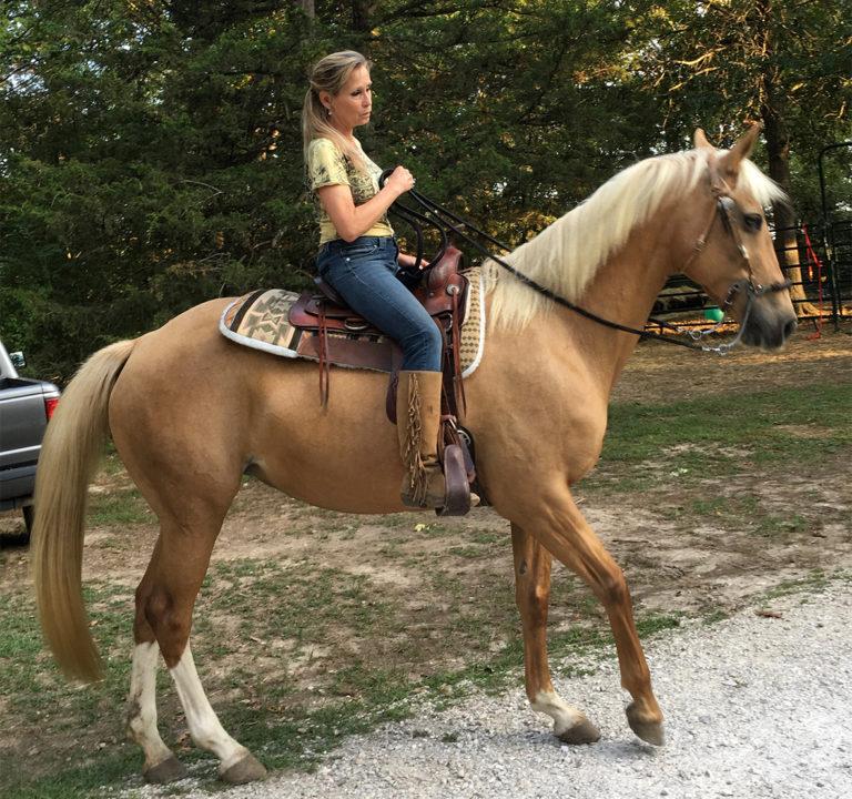 Nina Pemberton sits on her horse.