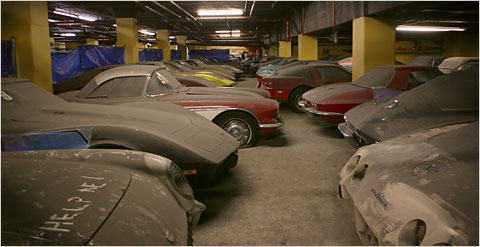 Peter Max Corvettes in Storage