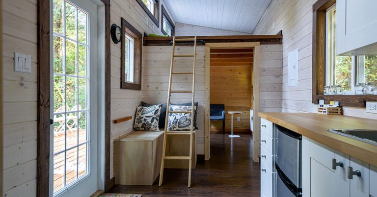 An interior view of a rustic tiny home.
