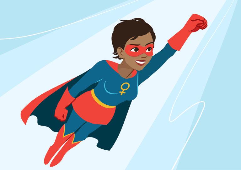 A superhero in flight