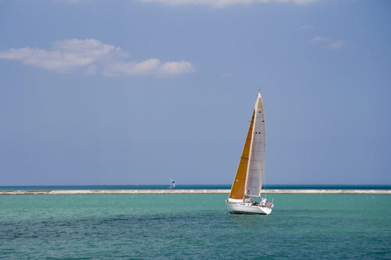A boat sails on Lake Michigan.