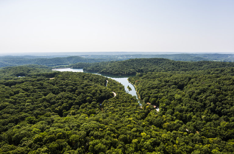 An aerial view of the forests of Mid-Missouri.