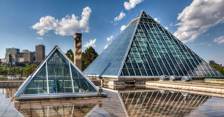 The glass pyramids of the Muttart Conservatory