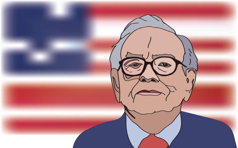 An illustration of Warren Buffett against a backdrop of an American flag.