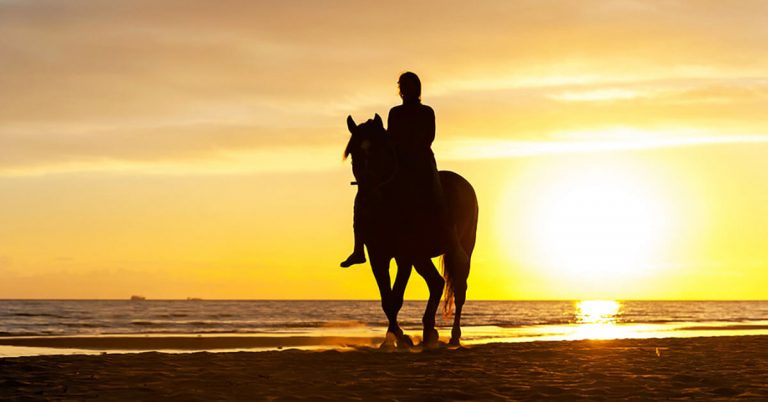 A woman on a horse rides along the beach at sunset.