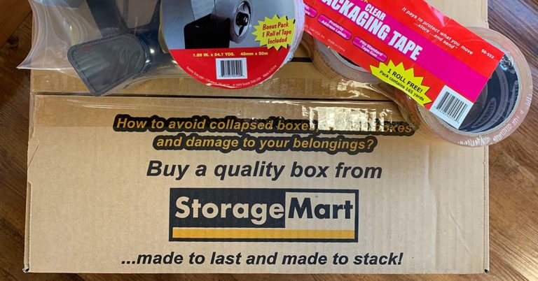 a StorageMart box with packing tape