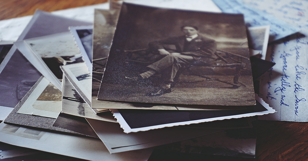 a pile of old photographs