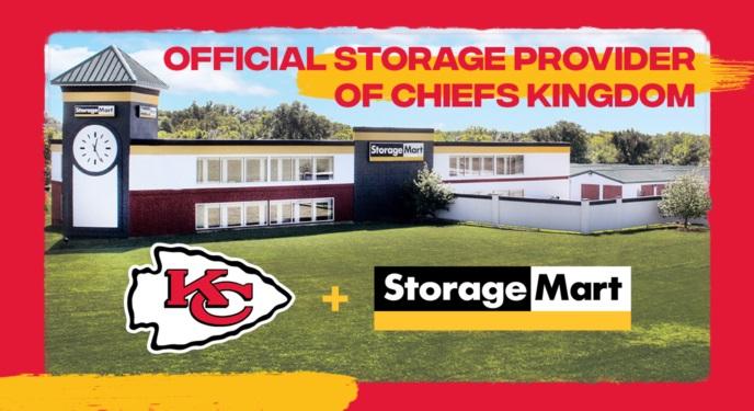 Official Storage Provider of Chiefs Kingdom. Chiefs logo appears next to StorageMart Logo